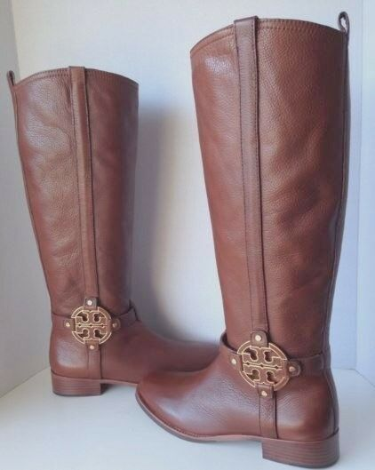 Tory Burch Amanda Almond Brown Riding Equestrian Leather Fashion Knee Boot 5