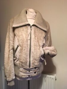 Stone Bomber And Xl Coloured natural Fur Faux Womans Suede Size Jacket rxpr4Yq