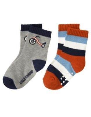 GYMBOREE JUNIOR RACER STRIPE N TRICYCLE 2pr OF BOYS SOCKS 6 12 24 2T 3T NWT