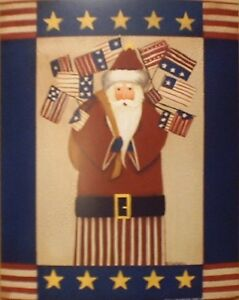 art-print-AMERICANA-SANTA-II-Fiddlestix-flags-Claus-primitive-folk-X-mas-8x10