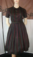 1950s Rockabilly Vintage Ladies Dark Stripe Dress With Full Swing Skirt