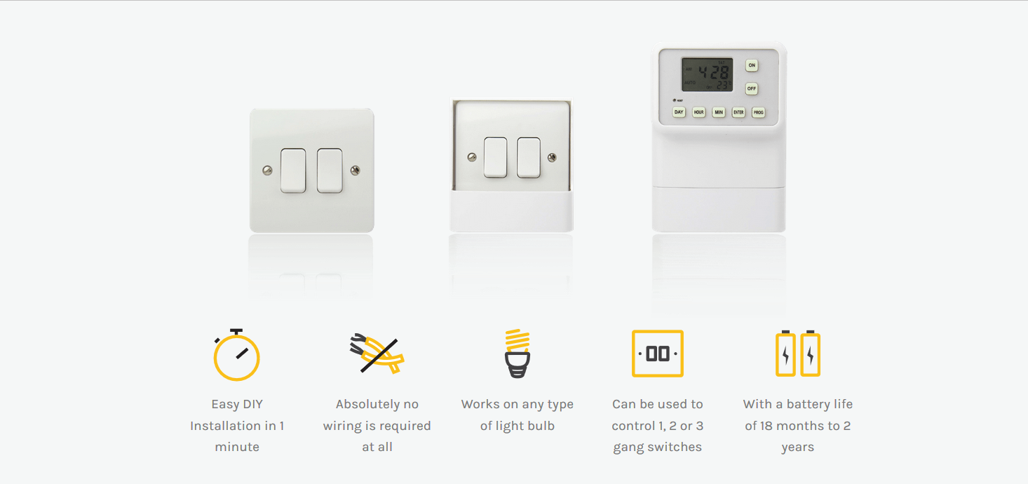 Light Switch Timer Mains Lights Retro Fit No Wiring Police Home Easy Approved Security D Ebay