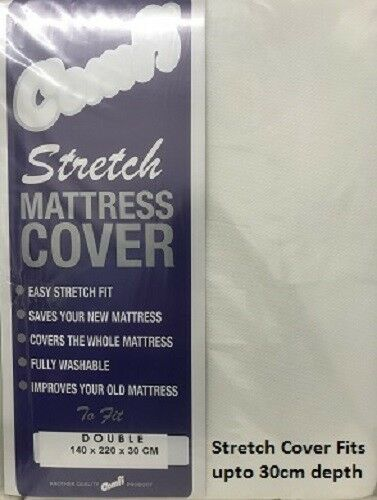 Double Zipped Elasticated Stretch Mattress Cover In White