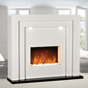electric fire fireplace led lights free standing white inset heater mantelpiece ebay. Black Bedroom Furniture Sets. Home Design Ideas