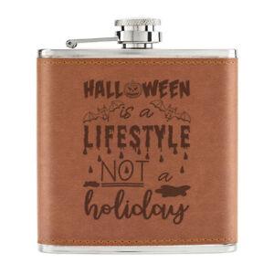 Halloween-Est-Un-Vie-Pas-Vacances-170ml-Cuir-PU-Hip-Flasque-Fauve-Fantome-Drole