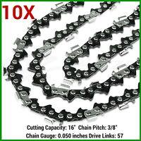 10xchainsaw Chains 3/8lp 57dl For Gardenline Gcs2000 Gpcs46z And Aldi Gardenline