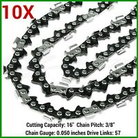10xchainsaw Chains 3/8lp 57dl For Gardenline Gcs2000 Gpcs46z And Aldi Gardenline