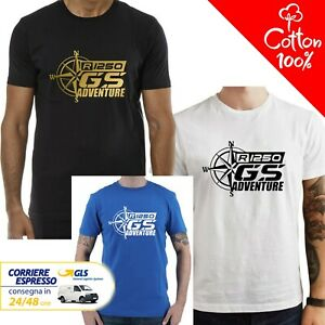 T-Shirt-BMW-R-1250-GS-Adventure-uomo-Maglia-moto-nera-cotone-100-maglietta