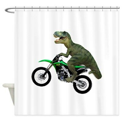 663322982 CafePress Dirt Bike Wheelie T Rex Shower Curtain