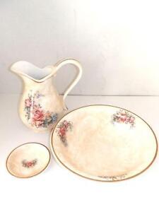 Set-Aseo-Tazon-Jarra-Platillo-Ceramica-Made-IN-Florence-Decoro-Rosa