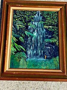Antique-HAWAII-Water-Falls-NAKED-HULA-GIRL-Taking-A-Bath-Swim-FOLK-ART-Painting