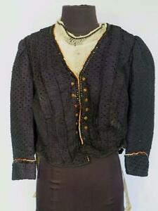 VERY-RARE-DESIGNER-FRENCH-ANTIQUE-VICTORIAN-BLUE-WOOL-amp-SILK-BODICE-SIZE-LARGE