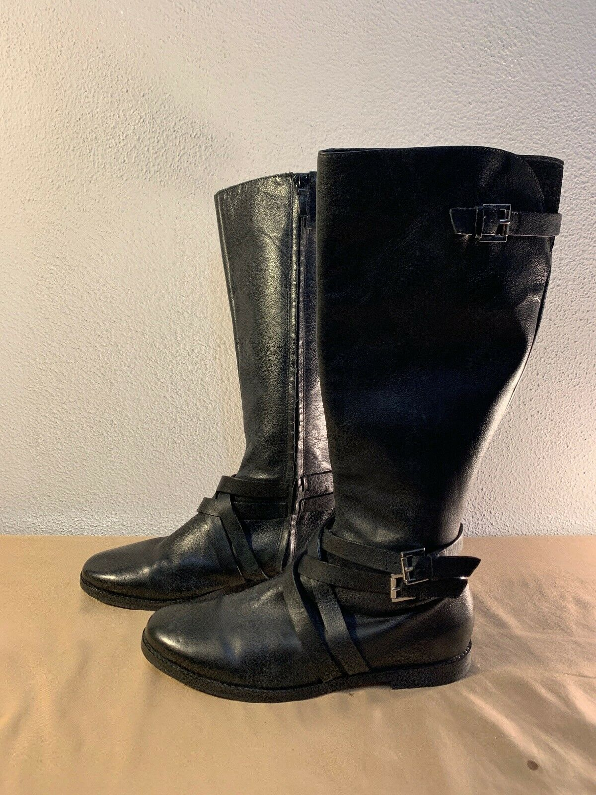 COLE HAAN AIR PETRA STRAP schwarz CALF LEATHER SIDE ZIP RIDING Stiefel 10B D38582
