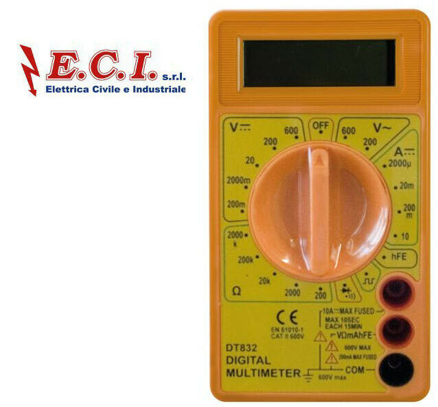 MULTIMETRO TESTER DIGITALE 10A CON BUZZER, DISPLAY LCD H.12mm, CIFRE 3 e 1/2