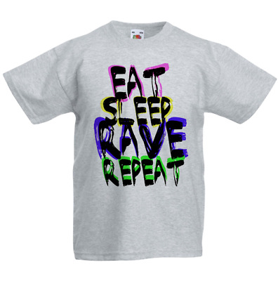 Kids Or Little Boys and Girls Eat Sleep Rave Repeat Unisex Childrens Short Sleeve T-Shirt