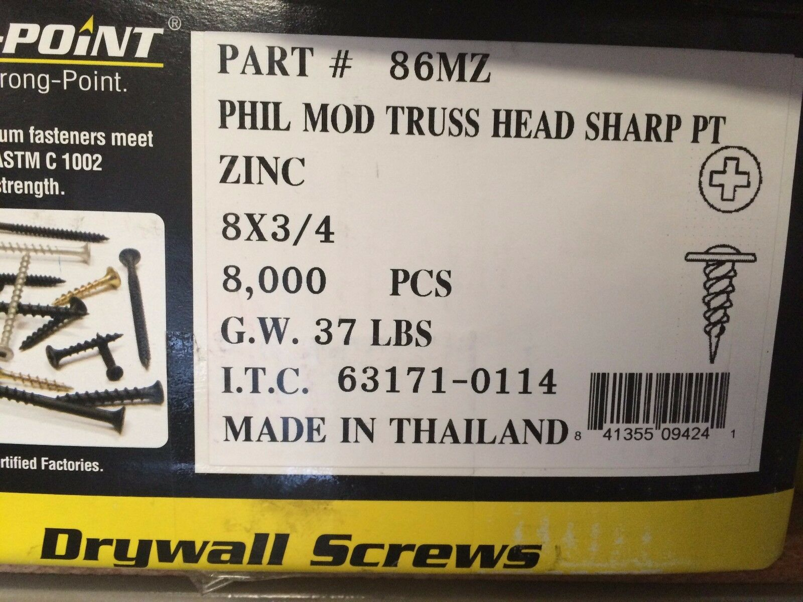 INTERCORP 86MZ  8 x 3/4 Sharp Point Modified Truss Head K-Lath Screw (8,000)