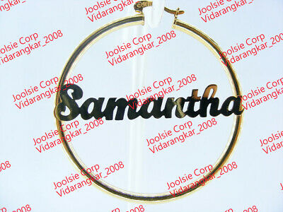 """ANY NAME PERSONALIZED 2/"""" MEDIUM  SILVER PLATED ROUND BAMBOO NAME EARRINGS"""