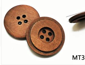 4 grandes botones de madera oscura de café 2 agujero 25 mm Flor de Costura Artesanía Reino Unido Vendedor