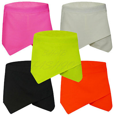 Ladies Women New Skorts Shorts Skirt Neon Irregular Flanging Wrap Plain Culottes