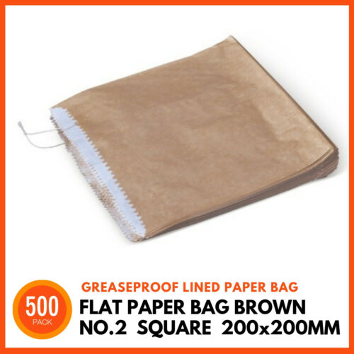 500 x BROWN GREASEPROOF LINED PAPER BAGS No2 Square 200x200mm Flat Takeaway Bag
