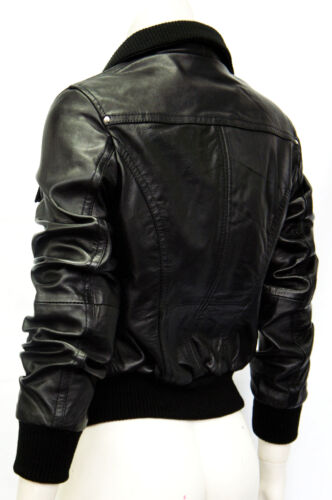 Portland Black Ladies Women Bomber Designer Real Sheep Napa Leather Jacket