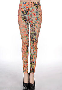 ROMANTIC-FLORAL-WATER-COLOR-PRINT-LEGGINGS-Choose-From-Sizes-8-amp-10-amp-12