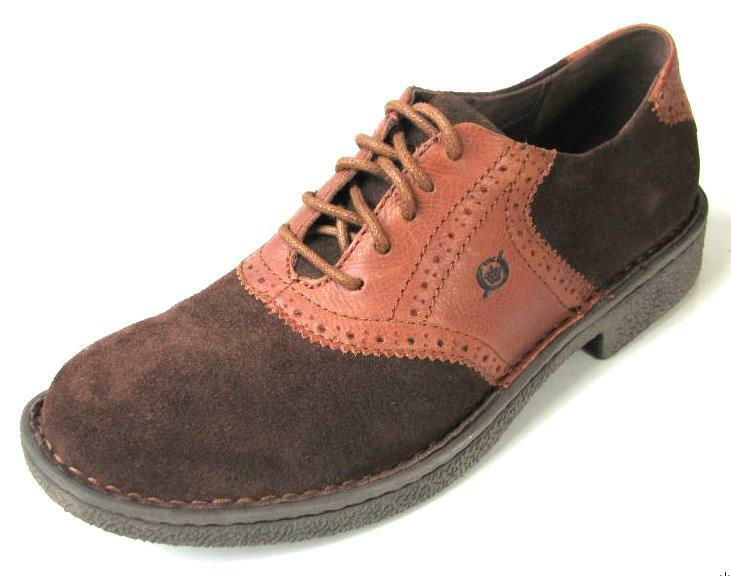 NIB Uomo BORN 'Bergman' brown suede/leather lace-up oxfords shoes 10.5 - comfort