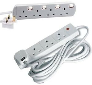 4-GANG-EXTENSION-LEAD-4-SOCKET-SWITCHED-WHITE-2m-3m-5m-10m-15m-20m-MAINS-WIRE