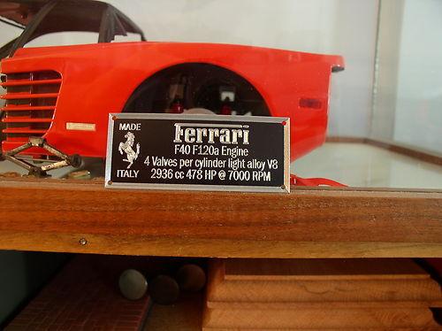Ferrari F40 Metal Display Plaque For Models 1//8 1//12 1//16 1//18 1//24 1//43 Pocher