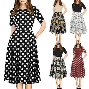 Womens-Summer-Dress-Vintage-Patchwork-Pockets-Puffy-Swing-Print-Casual-Dress-NEW