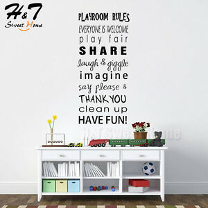 Image Is Loading Playroom Rules Motto Quotes Words Letter Vinyl Wall  Part 42
