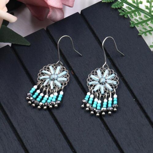 Fashion simple hand-woven Flower Beaded tassel pendant Women Earrings diy