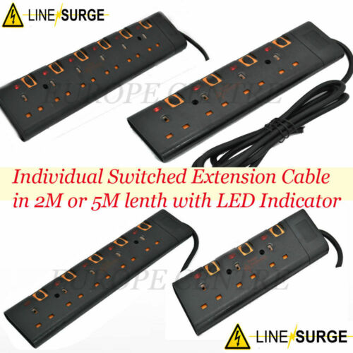 BLACK SURGE PROTECTED SWITCHED EXTENSION LEAD CABLE 5M METER METRE 3 4 5 6 WAY