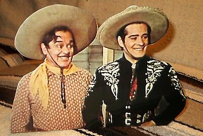"""Cisco Kid and Poncho Western TV Star Tabletop Display Standee 10 1/2"""" Long"""