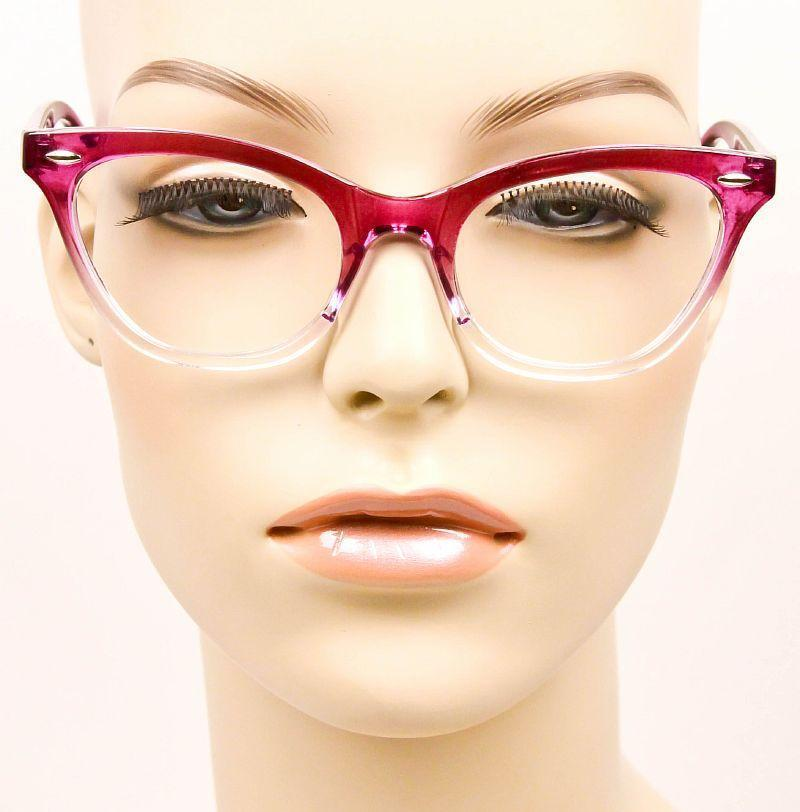 a9fa647a426 60s Vintage PinUp MIRA Cat Eye Gradient OMBRE Demi Clear Lens Eyeglasses  Frames