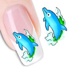 Nail Art Sticker Water Decals Transfer Stickers Blue Dolphins (DX1232)
