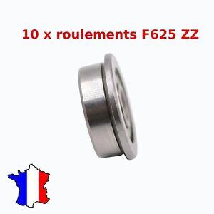 10 X F625zz Roulement à Billes Avec épaulement 5 X 16 X 5mm Flange Bearing