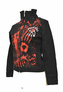 ZOMBIE-KILLER-BLACK-BLOOD-STAINED-RETRO-TRACK-TOP-S-10-BRITPOP-SURVIVAL-CREW