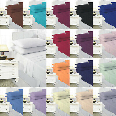 BED Sheet 4ft fitted Small Double Pillowcase Pair Plain Dyed Poly Cotton