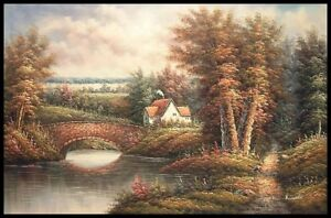 36-034-x24-034-Oil-Painting-on-Canvas-Country-Cottage-Genuine-Hand-Painted
