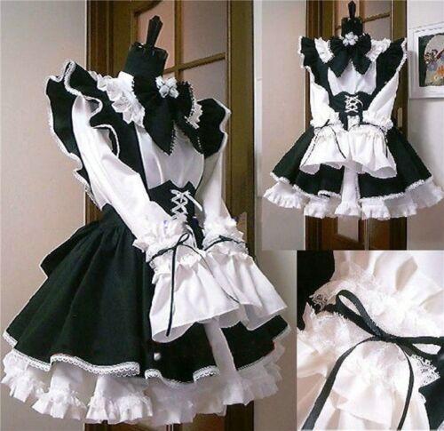 Women Girl Costumes Waitress Ruffle Lolita Gothic Cosplay Maid Fancy Dress Cute