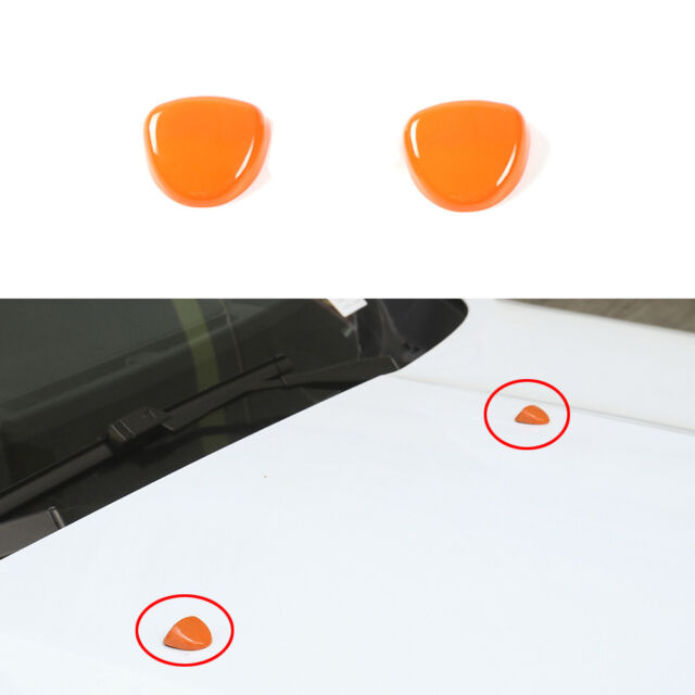 Orange ABS Windshield Washer Wiper Nozzle Cover Trim For Jeep Renegade 2015-2018