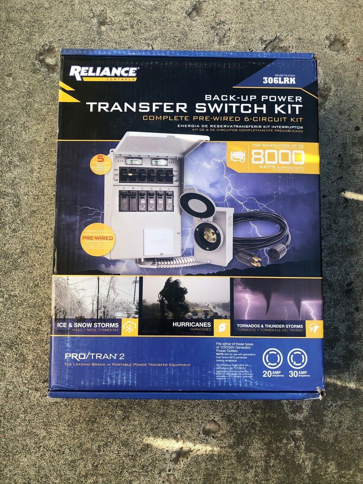 NEW Reliance Back-Up Power 6-Circuit Complete Transfer Switch Kit Model 306LRK
