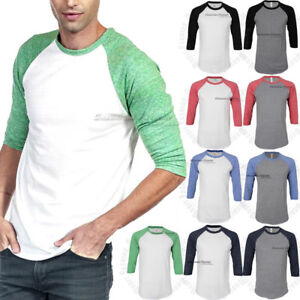 Mens-3-4-Sleeve-Raglan-T-Shirt-Baseball-Plain-Casual-Slim-Fit-Tri-Blend-Crew-Tee