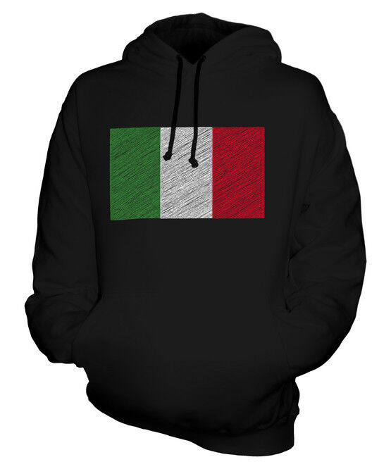 ITALIEN KRITZELTE FLAGGE UNISEX KAPUZENPULLOVER HOODIE PULLI HOODY HERREN DAMEN