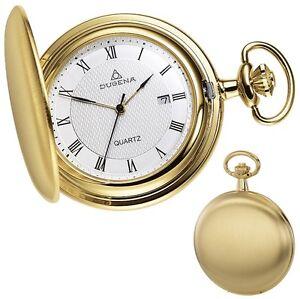 DUGENA-4288033-Taschenuhr-Savonette-mit-Kette-Uhr-Herrenuhr-Metall-Analog-gold