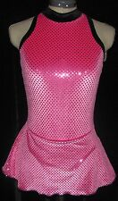 HOT PINK WITH BLACK Ice Figure Skating Dress GIRLS LARGE 12 / 14