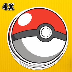 4 x Premium Quality Pokemon Poke Ball Catcher Laptop Stickers Paper Or Vinyl