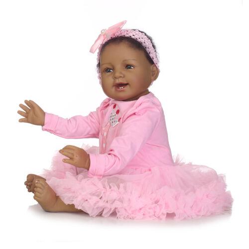 "22/"" Silicone Realistic Reborn African American Doll Black Silicone Baby Dolls"