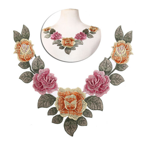 diy embroidered floral lace neckline neck collar trim clothes sewing applique  X